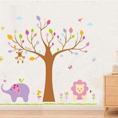 Sticker de perete din gama DIY, Do It Yourself, Fa tu singur, un autocolant cu animale desenate si un copac mare, decoratiune de perete moderna, pentru camera copilului