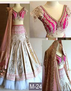 Raw Silk Machine Work Multicolour Semi Stitched Lehenga - M24