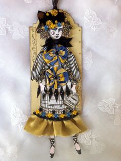 Articulated Paper Doll Art Tag 3D Whimsical by ParisPluie on Etsy, $15.00