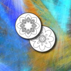 Digital collage sheet flowers 2 inch circle fridge magnets white flower new age mandala floral decoration round images by StudioDprint