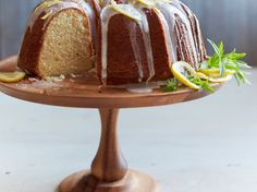 Buttermilk Bundt Cake with Lemon Glaze   Perfect for a summer party, this buttermilk Bundt cake recipe is nicely browned on the outside, with a soft, tender crumb.
