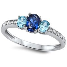 1.80 Carat Oval Cut Deep Blue Sapphire Swiss Blue Topaz Round Russian Diamond CZ 925 Sterling Silver Three Stone Dazzling Ring Lovely Gift