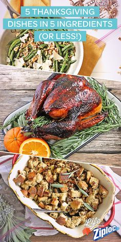 Check out these amazing #Thanksgiving recipes with 5 ingredients or less. Orange Rosemary Turkey Glaze, Lemon Parmesan Green Beans, Sourdough and Sausage Stuffing, Sweet Potato Casserole, and Ricotta Tarts. Nom! Make extra and store in Ziploc® bags for later.