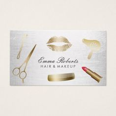 Makeup Artist Hair Stylist Modern Gold & Silver Business Card - get yours tap/click now!