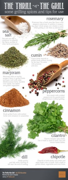INFOGRAPHIC: Spices for grilling. Includes notes on: rosemary, cumin, marjoram, peppercorns, cinnamon, sea salt, cilantro, chipotle, and dill. ~ from Monterey Bay Spice Co