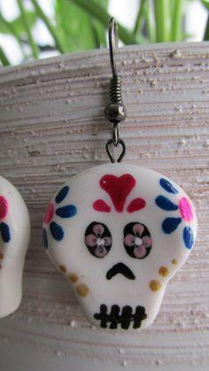 Handmade polymer clay sugar skull earrings by michellejewelry