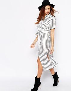 Glamorous Linen Stripe Midi Shirt Dress Klänning Kjol 3ea02c2a2ced7