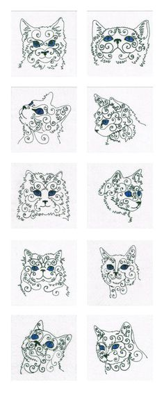 Swirly Cat Faces Embroidery Machine Design Details