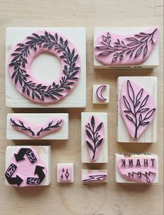 A selection of some of my hand carved stamps including a few of my mini stamps made from scrap rubber to reduce waste. Craft Packaging, Stamp Carving, Handmade Stamps, Stamp Printing, Custom Stamps, Linocut Prints, Artisanal, Paper Goods, Diy Gifts