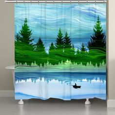 "This nature inspired shower curtain, ""Scenic Forest,"" creates an abstract vibe to a normal outdoors scene. The bright blue and green marble effect stylizes the design for an abstract take on nature, while enhancing the beauty of the great outdoors. This vibrant design will create a unique focal point in any bathroom decor. Size: 71 x 72. Material: Polyester."