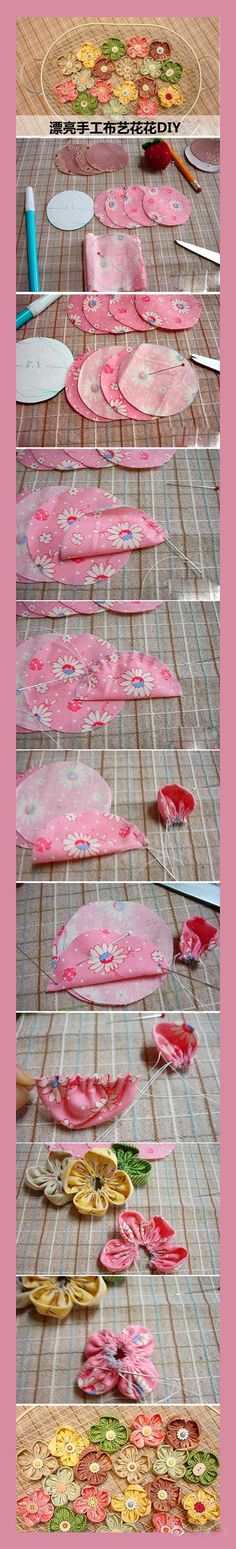 Fabric flowers using folded circles