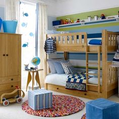 boys bedroom - look they are sharing a room!   what kind of crazy world is it where parents think kids should each have their own room?  No wonder the divorce rate is high.  If you have never shared a bedroom or bathroom you are going to start magically being good at it when you get married...