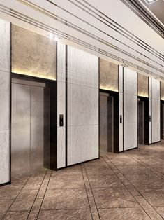 owjlift Elevator Doors Automatic & 0513103 A Note From Women to Men: Get Your Own Skin Hall Hotel, Hotel Corridor, Hotel Lobby, Flur Design, Hall Design, Elevator Lobby Design, Elevator Door, Lift Design, Travertine Floors