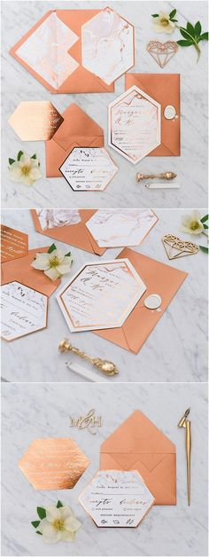 Copper and marble glitter wedding invitations 01/geoc/z via 4lovepolkadots / http://www.deerpearlflowers.com/modern-copper-marble-wedding-inspiration/
