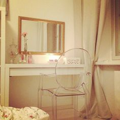 pretty vanity and lucite chair