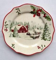 Better Homes & Gardens Christmas Heritage Barn/Sleigh Salad Plate * Multiples #BetterHomesGardens