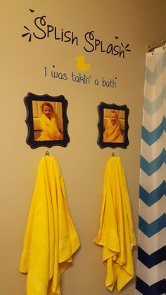 Rubber Ducky bathroom, kids' towels under their pics