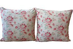 """French Floral Pillows, Pair 24"""" square"""