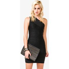 FOREVER 21 Metallic Bodycon Bandage Dress ($33) ❤ liked on Polyvore