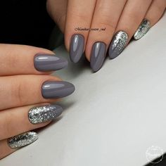 Two tone nails are very popular nowadays. You must have seen many models and celebrities show off beautiful manicured nails with the coolest two tone nail designs on them. As the name suggests, two tone nails art means that the wearer uses two differ Shellac Nails, Nail Polish, Grey Gel Nails, Grey Nail Art, Almond Gel Nails, Black Nails, Gel Manicures, Glitter Gel Nails, Sparkle Nails