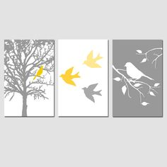 Modern Bird Trio  Set of Three 11x17 Prints  Birds by Tessyla, $65.00