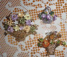3 Vintage Flower & Fruit Basket Brooches Pin Rhinestone Enamel by BuddysBoutique on Etsy Vintage Jewelry, Unique Jewelry, Fruit, Vintage Flowers, Brooch Pin, Brooches, Enamel, Basket, Etsy