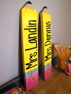 Personalized Pencil Sign Teacher Appreciation by RestoreandSparkle