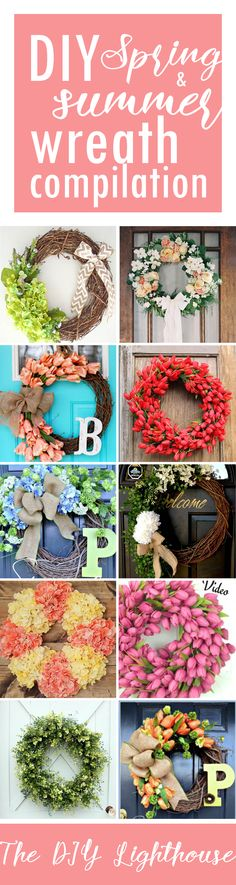 DIY Spring & Summer wreath compilation for your crafty self! Inspiration, ideas, & how-to's. You'll agree: making your own front door decor is a no-brainer. Summer Diy, Summer Crafts, Spring Summer, Diy Wreath, Door Wreaths, Wreath Ideas, Spring Wreaths For Front Door Diy, Do It Yourself Inspiration, Front Door Decor