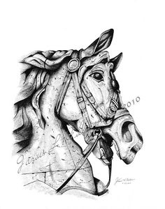 "Carousel Horse Tattoo  ""Their beauty captures every eye, a gift from God for all mankind, they lend us wings so we may fly, to ride a horse is to ride the sky."""