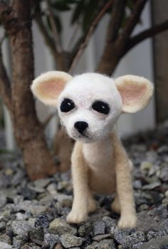 Needle Felted Dog Sculpture - Chihuahua Custom OOAK Soft Sculpture Art