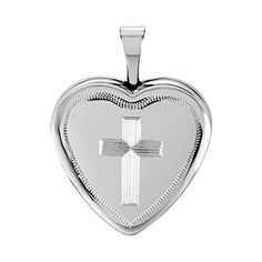 925 Sterling Silver Ridge Cross Engrave Heart Locket Pendant >>> Click image to review more details.