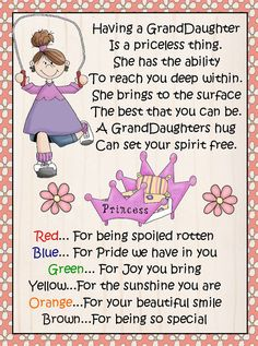 Young Granddaughter MM by CindisCandyCreations on Etsy Sister Quotes, Mom Quotes, Sign Quotes, Words Quotes, Daughter Quotes, Father Daughter, Birthday Verses, Birthday Gift For Wife, Birthday Quotes
