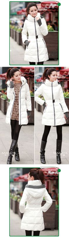 Outerwear women's down jacket 2013 the new winter slim medium long star patchwork large neck hooded down coat luxury big size-inDown & Parka...
