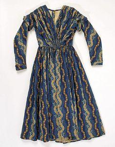 c. 1840 American cotton dress, back closure, probably hook & eye.  What wonderful fabric!