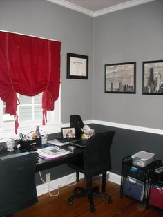My new home office idea. Black, White and Gray - Maybe cream as it matches my chair - We could so do this in my computer room/closet/spare room.