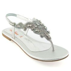 682ad757481ef7 Ladies Flat Diamante Toe Post Womens Slingback Sparkly Dressy Holiday  Sandals