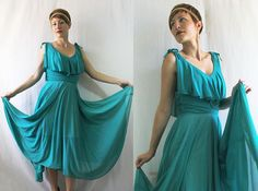 NWT Deadstock 1970's Vintage Turquoise COCKTAIL DRESS by somethingborrowedvtg, $74.00