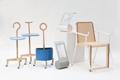 """Design firm L+W created the """"No Country for Old Men"""" collection in 2012, which consists of Together – a set of walking aids and carts, Aussunta – a chair that tilts forwards to help users rise from a seated position, and MonoLight – a table lamp that illuminates and magnifies."""