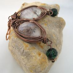 Wire Wrapped Earrings African Opal Semi precious by adiencrafts, via Etsy.