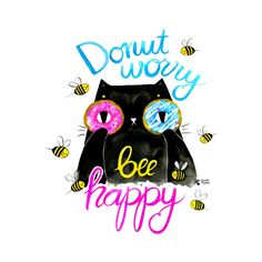 Be happy - funny black cat illustration, by Gabi Toma Black Cat Illustration, Special Characters, Lower Case Letters, Custom T, Cat Art, Cute Cats, Funny Quotes, Lettering, Drawings