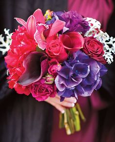 Brides.com: How Much Do Wedding Bouquets Cost?. Bouquet of hydrangeas, peonies, lisianthuses, dusty miller, mini calla lilies, Baccara roses, spray roses, and cymbidium orchid buds $150, by Plum Sage Flowers, Denver