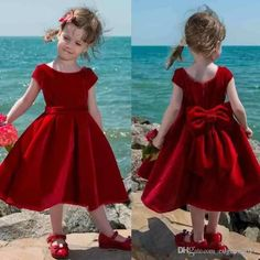 Cute Red Velvet Flower Girl Dress 2017 Tea Length Baby Girl Pageant Dresses Toddler Kids Party Dress Short Communion Gowns With Big Bow… (With images) Toddler Flower Girl Dresses, Little Girl Dresses, Toddler Dress, Baby Dress, Flower Girls, Girls Pageant Dresses, Girls Party Dress, Dress Party, Latest Dress For Girls