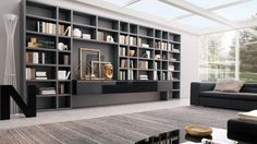 Furniture, The Excellent Design Of Book Storage Wall Units Crossing With Gray Color Of Wall Unit Bookshelves Looked Amazing And Interesting With White Glass Roof And White Glass Wall And Window ~ The Great Also Sweet Design Of Wall Unit Bookshelves With Modern Style
