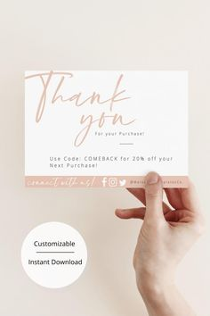 Thank you for your Order Cards Small Business Cards, Business Thank You Cards, Business Card Design, Thank You Card Design, Thank You Card Template, Feeds Instagram, Packaging Stickers, Thanks Card, Packaging Design