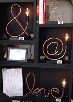 Kaufmännisches und-Zeichen Kupferrohr Lampe von MechanicalBirdsShop