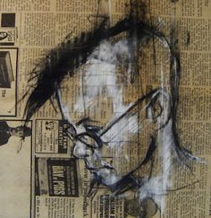 Recycled: Guy Denning - a drawing a day. Working on recycled materials such as newspapers, cardboard, old letters etc.