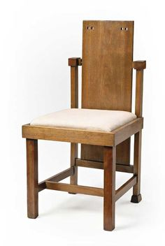 Frank Lloyd Wright (1867-1959) - Child's Chair. Mahogany with Upholstered Seat. Designed for the Avery Coonley House, Riverside, Illinois. Circa 1912. 78.8cm x 38.5cm x 42cm.