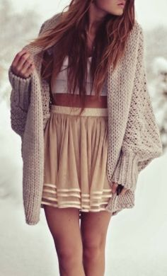 Oversized Cardigan With Layer Skirt