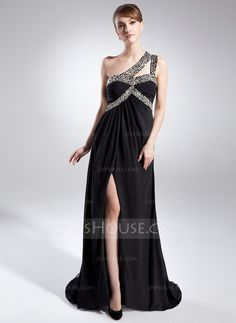 Mother of the Bride Dresses - $151.99 - A-Line/Princess One-Shoulder Sweep Train Chiffon Mother of the Bride Dress With Ruffle Beading (008015845) http://jjshouse.com/A-Line-Princess-One-Shoulder-Sweep-Train-Chiffon-Mother-Of-The-Bride-Dress-With-Ruffle-Beading-008015845-g15845