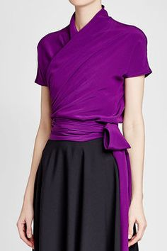ETRO - Silk Wrap Top | STYLEBOP Silk Wrap, Purple Fashion, Purple Style, Dresses For Work, Skirts, How To Wear, Shopping, Sewing, Women
